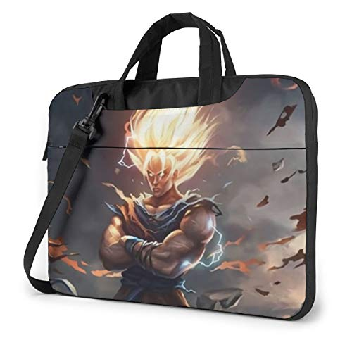 13-15.6 Inch Water-Repellent Laptop Crossbody Messenger Bag, Japanese Anime DBZ SSJ Son Goku Fire Hair Fan Art Purse Bags with Adjustable Strap, Computer Carrying Case for MacBook Chromebook