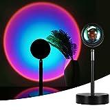 Sunset Lamp,Sunset Proyección LED Proyección, Rotación 180°, Romántico Visual, Proyector de puesta de sol, USB, lámpara de pie moderna, lámpara de noche para salón (arcoiris morado)
