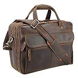 Polare Modern Attaché Style 15.7' Full Grain Italian Leather Laptop Business Briefcase for Men