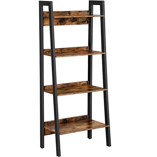 VASAGLE Ladder Shelf, 4-Tier Home Office Bookshelf, Freestanding Storage Shelves, for Living Room Bedroom Kitchen,...