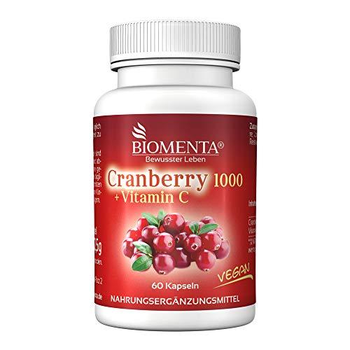 BIOMENTA Cranberry 1000 + Vitamin C – mit 1.000 mg Cranberry Extrakt + 500 mg Vitamin C pro Tag – Cranberry hochdosiert & vegan - 60 Cranberry-Kapseln