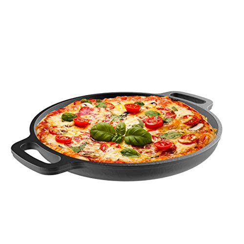 Cast Iron Pizza Pan-13.25 Pre-Seasoned Skillet for Cooking, Baking, Grilling-Durable, Long Lasting, Even-Heating Kitchen Cookware by Classic Cuisine