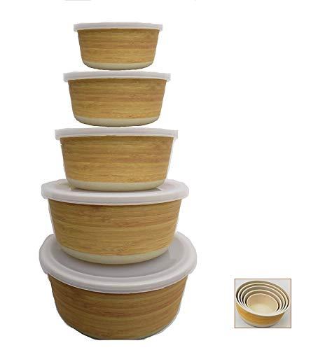 Tuper de Bambu - 5 Tupers de Fibra de Bambú Ecologicos - Material Organico, Reciclable,...