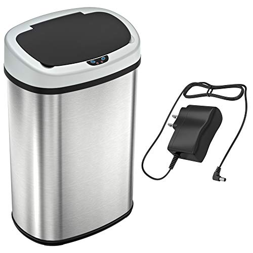 SensorCan 13 Gallon Automatic Touchless Sensor Battery Free-Stainless Steel-Oval Shape, Ac Adapter + Trash Can