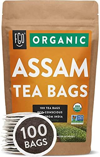 Organic Assam Tea Bags | 100 Tea Bags | Eco-Conscious Tea Bags in Kraft Bag | by FGO