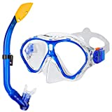 Gintenco Kids Snorkel Set, Dry Top Snorkel Mask Anti-Leak for Youth Junior Child, Anti-Fog Snorkeling Gear Free Breathing,Tempered Glass Swimming Diving Scuba Goggles 180° Panoramic View(Blue)