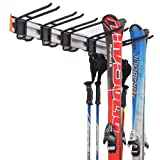 Homeon Wheels Ski Storage Rack, Heavy Duty Aluminum Ski Wall Rack for Skis and Snowboards, Ski Rack for Garage Wall Holds Up to 300 lbs