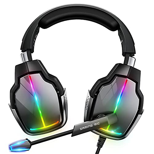 Cascos Gaming PS4, Giratorio de 90° y 4 Modos de Iluminación RGB Auriculares Gaming, Transductores 50mm, Micrófono con Premium Estéreo, Compatibles con PS4, PS5, Xbox One, PC, Switch