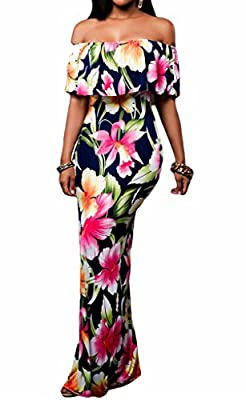 Occasion: evening, prom,cocktail, vacation, wedding Charming:Wear the right dress can show the sexiest and charming of you New Fashion:The off-the-shoulder and ruffle design are really head-turning Elasticity:The elasticity printed long dress will fi...