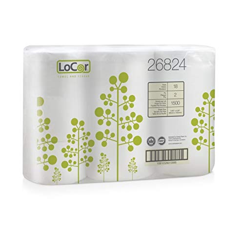LoCor 2-Ply Bath Tissue, White, 1,500 Sheets Per Roll, 506 1/4' Roll, Pack of 18 Rolls