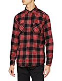 Urban Classics Checked Flanell Shirt 3 Chemise Casual, Multicolore (Noir/Gris/Rouge 801), S Homme