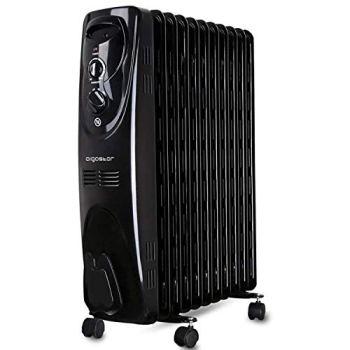 Aigostar Tummie 33JIE – Radiador de aceite de 11 elementos, 2300 Watios, dispone de 3 ajustes de potencia y control termostático de temperatura. Color negro. Diseño exclusivo.