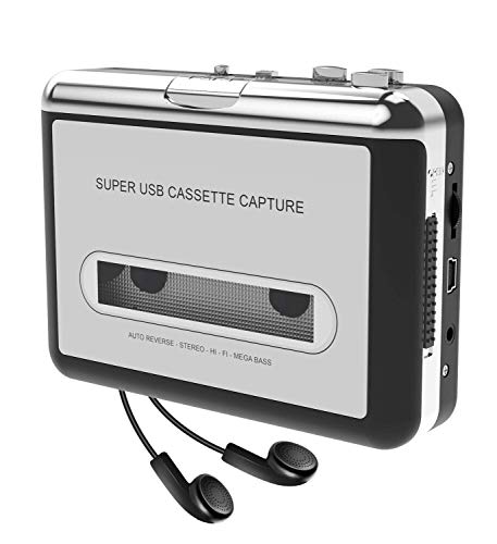 Cassette Player-Cassette Tape to MP3 CD Converter- Powered by Battery or USB,Convert Walkman Tape Cassette to MP3, Compatible with Laptop and PC, USB Cable,Software CD,3.5mm Jack Earphone-DIGITNOW