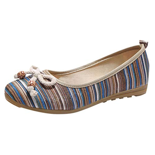 YWLINK Zapatos De Mujer Low-Top con Estilo Nacional Zapatos Individuales CuñAs Ligeras Zapatos Perezosos Bohemia Zapatos Romanos Zapatos Casuales De Playa Fiesta(Azul,37EU)