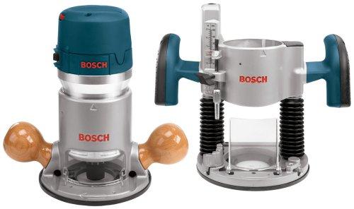 Bosch 1617EVSPK Kit de enrutador de velocidad variable de 12 amperios y 2 1/4 de caballos de fuerza y base fija con pinzas de 1/4 pulgadas y 1/2 pulgadas