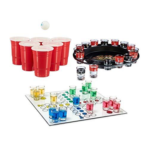 Relaxdays 3 teiliges Trinkspiel Set XXL für Erwachsene, Drinking Ludo, Trink-Roulette, Beer Pong Becher rot, Partyspiel, Saufspiel, ab 18