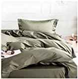 Solid Color Egyptian Cotton Duvet Cover Luxury Bedding Set High Thread Count Long Staple Sateen...