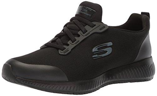 Skechers for Work Women's Squad SR Food Service Shoe, black flat knit, 10 M US