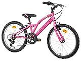 Anakon Bicicletta per Bambina SHIMANO, 6 Velocità, Cerchione 20' in Alluminio, Rosa, Hawk Six