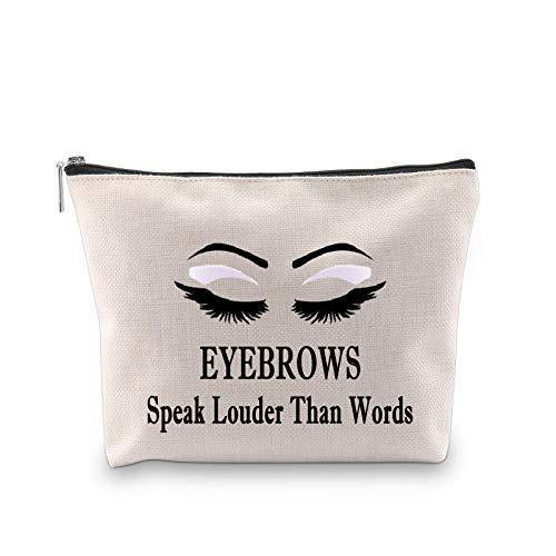 MYSOMY Cejas hablan más fuerte que las palabras, bolsa de cosméticos de viaje bolsa de maquillaje divertido regalo de cejas para amantes del maquillaje artista esteticista