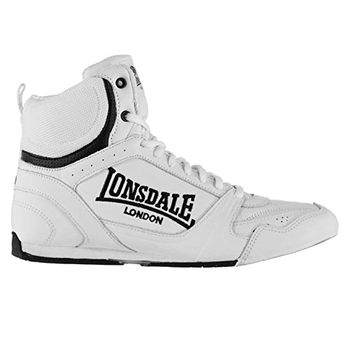 Lonsdale Mens Boxing Boots Training Lace Up Sport Shoes Trainers Footwear White/Black UK 10 (44)