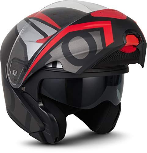 "Moto Helmets® F19 ""Runner Red"" · Motorrad-Helm · Klapp-Helm Modular-Helm Flip-up Integral-Helm Motorrad-Helm Roller-Helm Cruiser · ECE 22.05 Sonnenvisier Schnellverschluss Tasche M (57-58cm)"