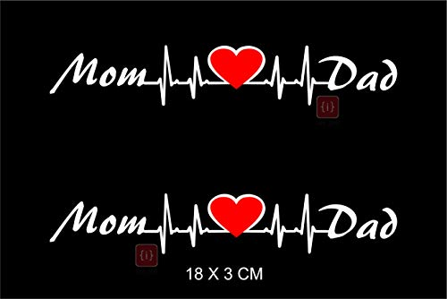 ISEE 360 Mom Love Dad Bike Sticker, 0.01 x 7.08 x 1.18 Inches, White Red