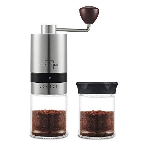 SILBERTHAL Molinillo de café manual   Molinillo de café profesional de mano acero inoxidable y vidrio   Moledora cafe manual regulable   Molinillo de cafe portatil   Coffe grinder