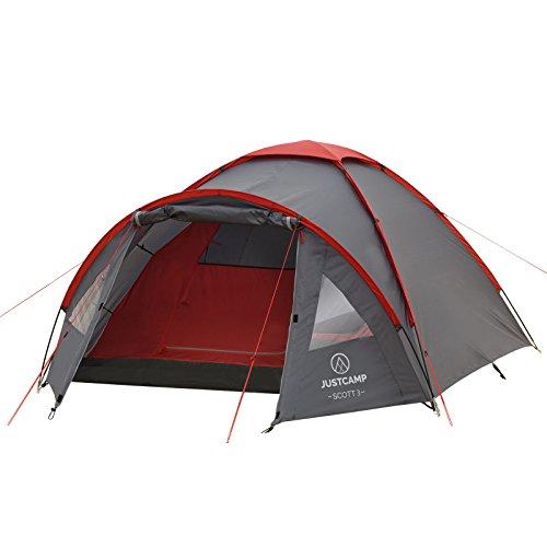 JUSTCAMP Kuppelzelt Scott 3, Campingzelt mit Vorraum, Iglu-Zelt für 3 Personen (doppelwandig) - grau