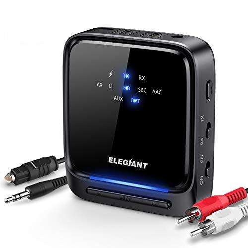 ELEGIANT Bluetooth Adapter Audio 5.0 Bluetooth Transmitter Empfänger 2 in 1 Sender Receiver Low Latency HD mit Optischem Toslink/SPDIF für TV Laptop Stereoanlage Kopfhörer Lautsprecher