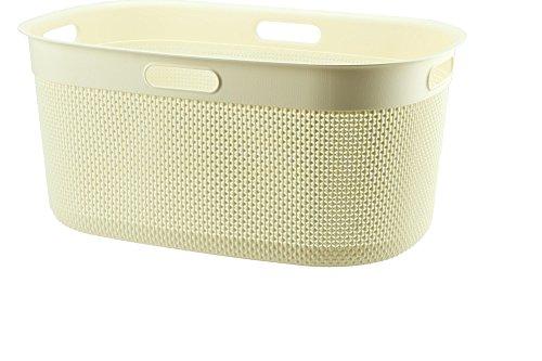 FILO Wäschebox 45L, Plastik Wäschekorb, Wäschesammler aus Kunststoff, Wäschebox 39x27x59cm, Wäschetonne (Creme)