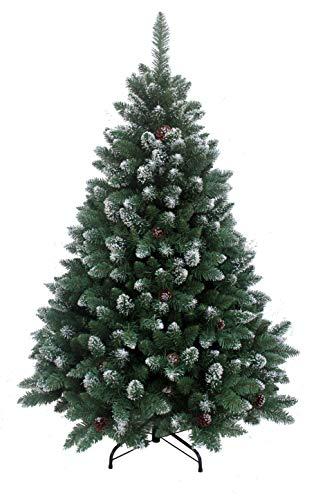 RS Trade HXT 15013 künstlicher Weihnachtsbaum 240 cm mit Schnee und Zapfen (Ø ca. 150 cm) ca. 1815 Spitzen, schwer entflammbarer Tannenbaum mit Schnellaufbau Klappsystem, inkl. Christbaum Ständer