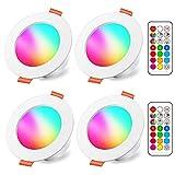 Spots LED Encastré 8W (équivalent 60W) Couleur RGB Changement Variation Coloré RGBW IP44 Blanc...