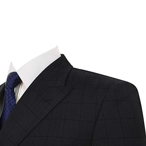 Pio Lorenzo Men's Double Breasted Suit 2-Piece Classic Fit Peak Lapel Solid Jacket Dress Pants