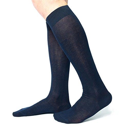 Ciocca Calze uomo lunghe, pregiato cotone 100% FILO SCOZIA - 6 Paia - tre taglie calze (44/45, Blu scuro)