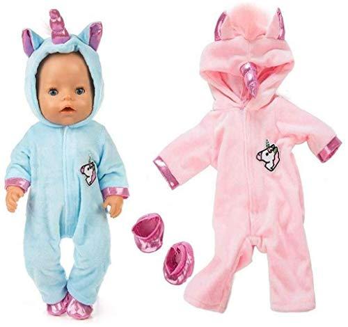 MICHAELA BLAKE Conjuntos Unicornio Mono Incluir Cielo Azul Y Rosado De La Muñeca Ropa 2 Pares Calzado para 43 Cm New Born Baby Dolls / 18 Pulgadas De Las Muñecas del Bebé