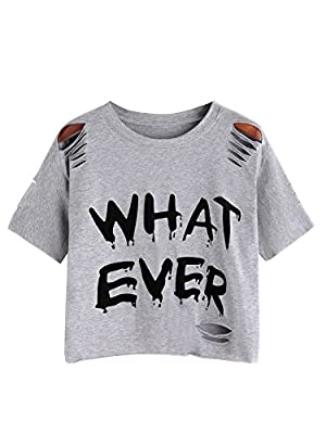 Soft t-shirt fabric,stretchy and comfortable Ripped tee shirt,graphic pattern crop tops,casual style for daily wear Cut out cropped tee,various cute graphic for you choose Please refer to the size measurement below before ordering Pleasenotethatth...