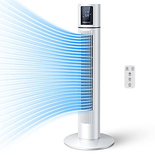 YISSVIC Ventilatore a Torre con Telecomando/Timer 8 Ore, LED Touch Screen, Ventilatore Silenzioso a Colonna Oscillazione a 70, 3 Velocit/Modalit, 87cm, per Casa/Ufficio