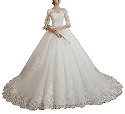 Made of high quality tulle and lace fabric,Comfortable to wear. Lace Appliques,1/2 Sleeve A-Line Style,Crystal Beaded top,Chapel Train,Built in Bra,100% Handmade.Plus size Wedding Dress. Do please have a look of our size chart on the left side before...