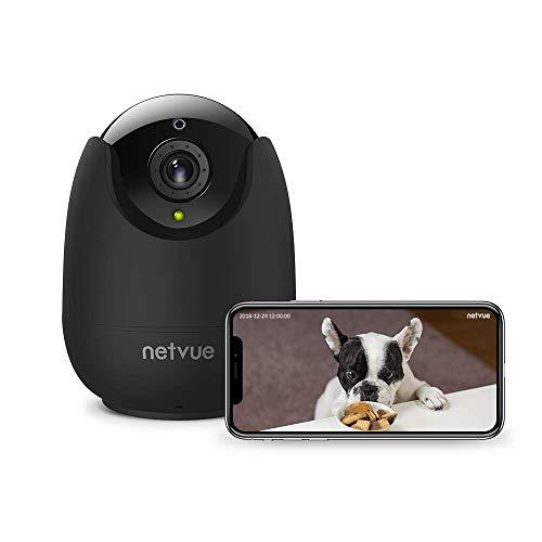 Netvue Telecamera wi-fi Interno, FHD 1080P Videocamera Sorveglianza Compatibile Alexa, Visione Notturna, Audio Bidirezionale, Rilevamento di Umano Movimento, PTZ Webcam Wifi Senza Fili Per Bambino