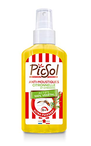 PicSol Spray Anti-Moustiques Citronnelle/Citriodiol Actifs 100% Végétal