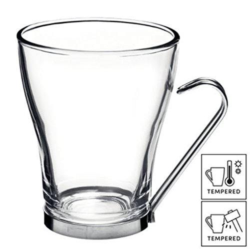 Bicchieri grandi da caffè/tè/latte con manici in acciaio inox, 32 cl, 6 pz.
