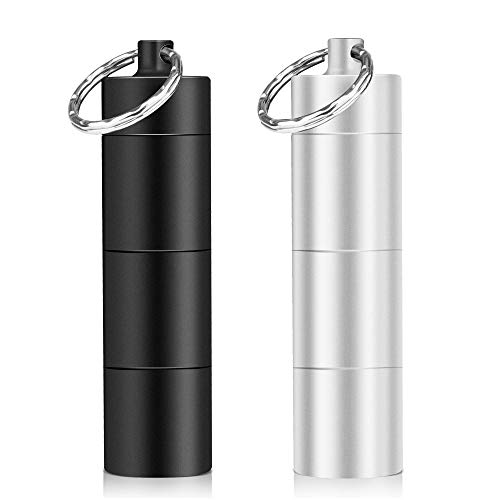 Opret 2 Pack Pillendose Schlüsselanhänger Wasserdicht mit 3 Teilbaren Fächer, Kleine Tablettendose für Unterwegs, Pillendose Klein
