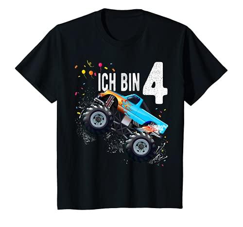 Kinder 4 jahre Junge Mädchen Geburtstag Shirt Monster Truck T-Shirt