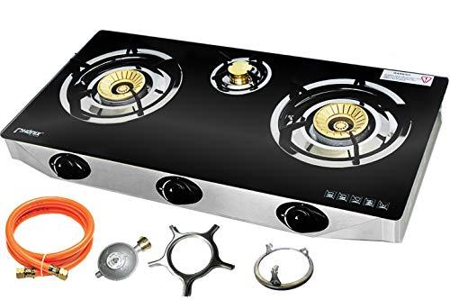Phnix PS-3 - Fornello a gas a 3 fuochi, piano cottura a gas, 9 kW, in vetro, GPL, fornello a gas, fornello da campeggio con dispositivo di sorveglianza di fiamma e set regolatore del tubo del gas