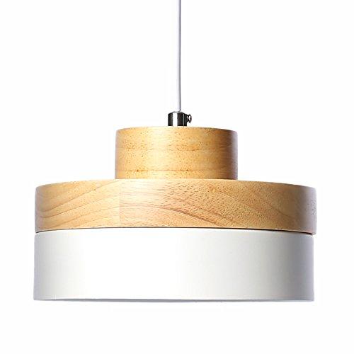 E27 Métal Moderne Suspensions Luminaires Industriel Retro Plafonnier Luminaire Lumiere Metal et Bois Luminaire éclairage Vintage Plafonnier Lustre Lampe (Blanc)