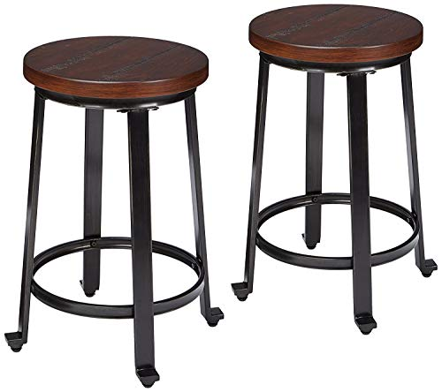 Signature Design by Ashley Challiman Counter Height Bar Stool, Rustic Brown