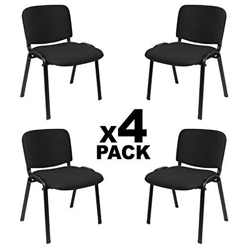 Adec - ISO, Pack 4 Sillas Confidente, Silla de Espera, Tapizado en Tejido Negro, Medidas: 54 cm (Ancho) x 55 cm (Fondo) x 80 cm (Alto)
