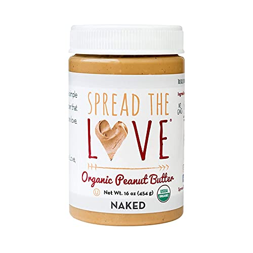 Spread The Love NAKED Organic Peanut Butter, 16 Ounce (Organic, All Natural, Vegan, Gluten-free, Creamy, Dry-Roasted, No added salt, No added sugar, No palm oil)