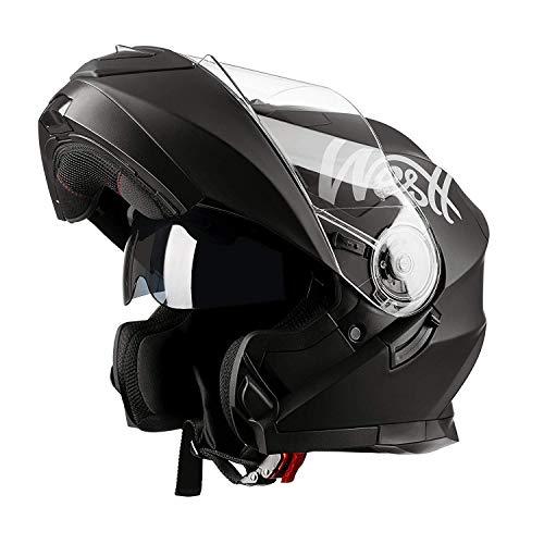 Westt Torque X - Casque Moto Modulable Double Visière pour Scooter Chopper - Casque de Moto Homme et Femme en Noir Mat - ECE Homologué